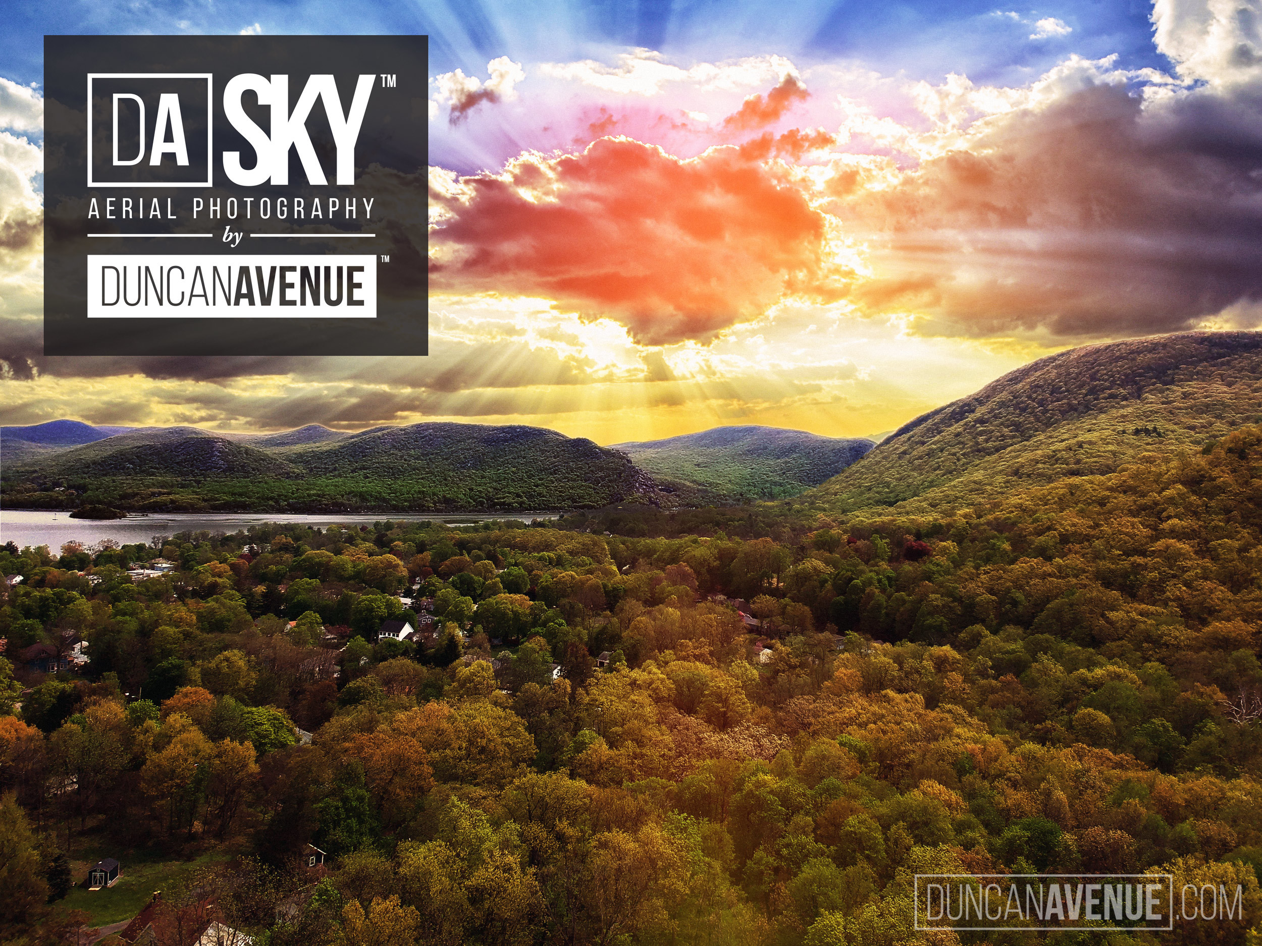 Beautiful Sunrise over Cornwall on Hudson, New York - Hudson Valley Aerial Photography by Duncan Avenue Studio