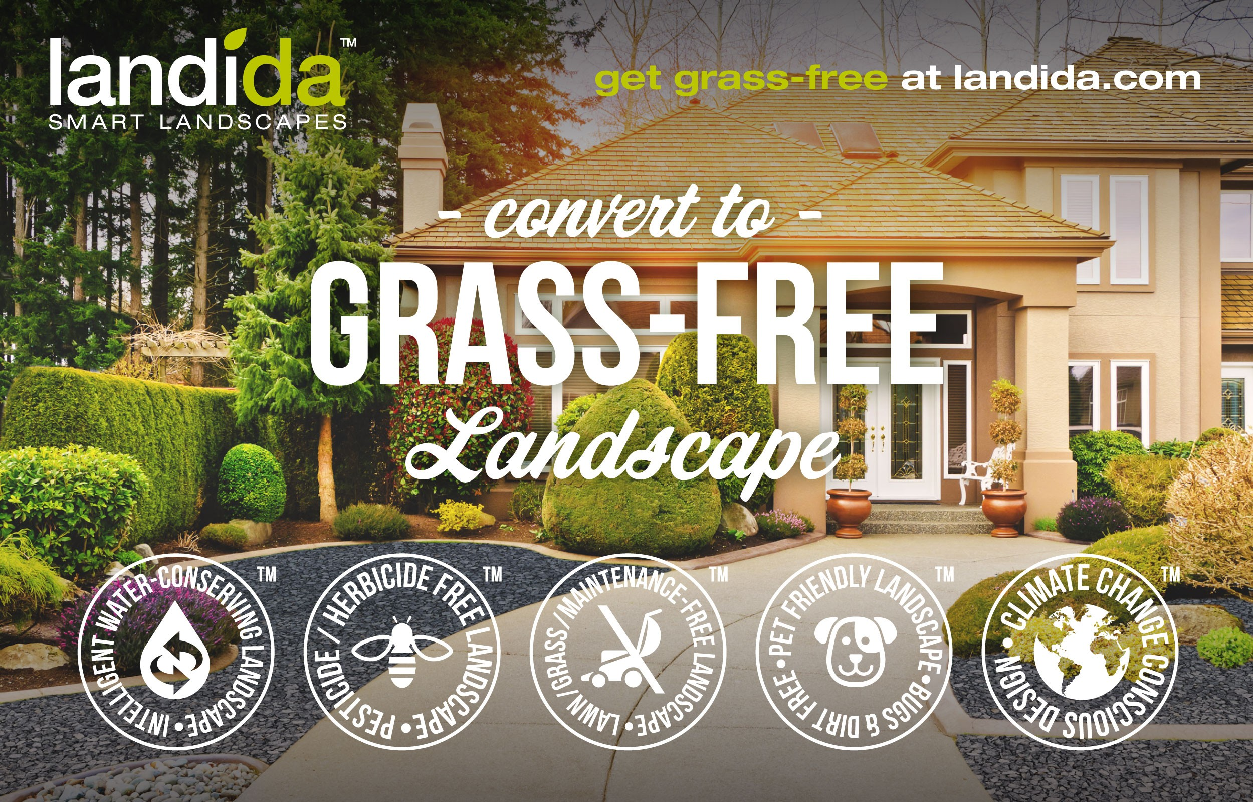 Convert to Grass-Free Landscape with Landida™ Smart Landscapes