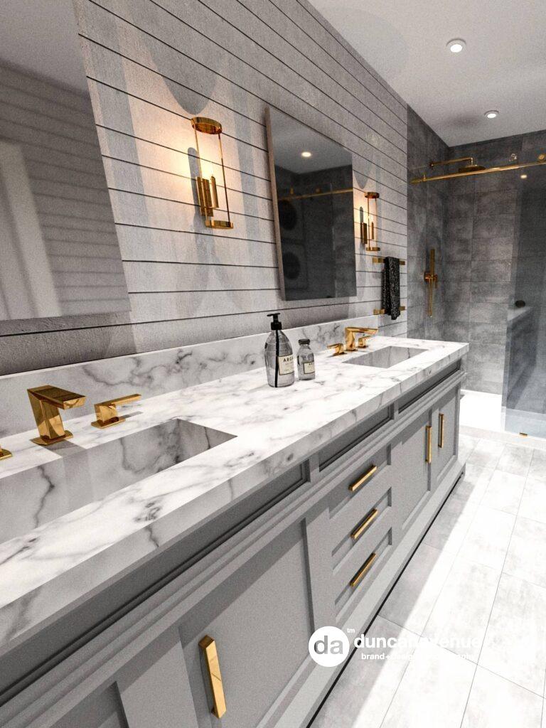 Shiplap+Gold - Master Bathroom Interior Design Project in Hudson Valley, New York
