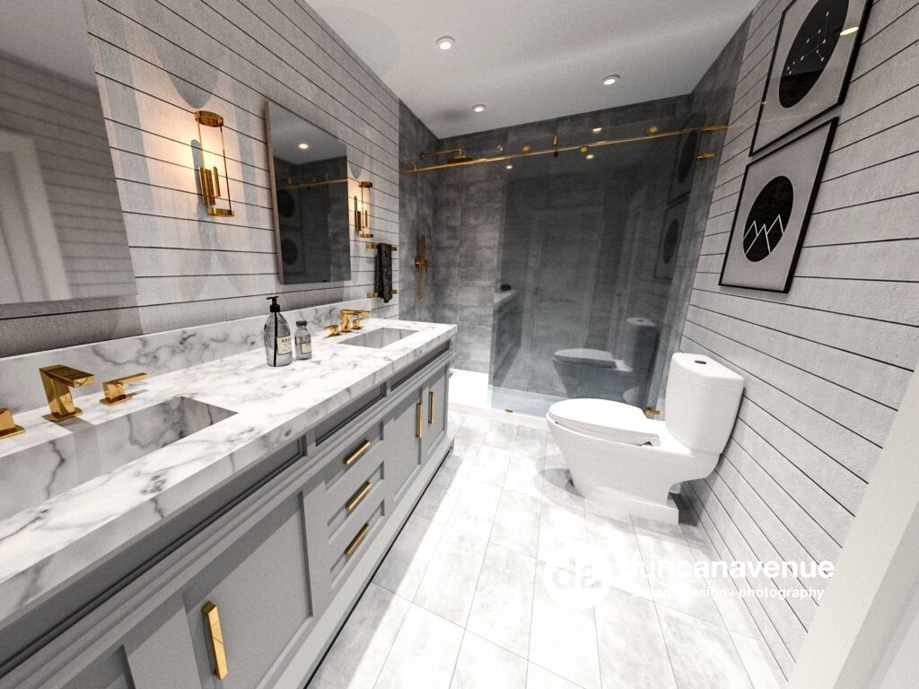 Shiplap+Gold - Master Bathroom Interior Design Project by Maxwell Alexander in Hudson Valley, New York